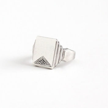Vintage Silver Silver Blank Signet Style Genuine Diamond Ring - Retro Size 6 1/2 Geometric Rectangular Stepped Design Classic Jewelry