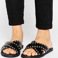 River Island Studded Slider at asos.com