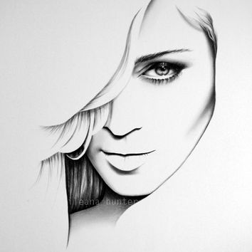Madonna Fine Art Pencil Drawing Portrait Print Hand Signed