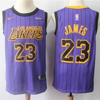 Men's Los Angeles Lakers #23 LeBron James  Nike Purple 2018/19 Swingman Jersey – City Edition - Best Deal Online