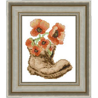 Poppies in old shoe -  PDF Cross Stitch Pattern - INSTANT DOWNLOAD