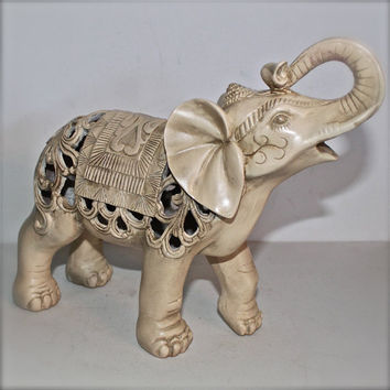 Elephant Statue /Ivory /Figurine /Home decor /Ornate /Nursery Decor/ Shabby Chic /Elephant Table Decor/ Elephant Statue/ African