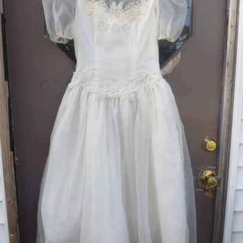 Vintage 70s Beaded Sequin Lace off white sheer Chiffon  Wedding Dress  party tea length dress  Bridal