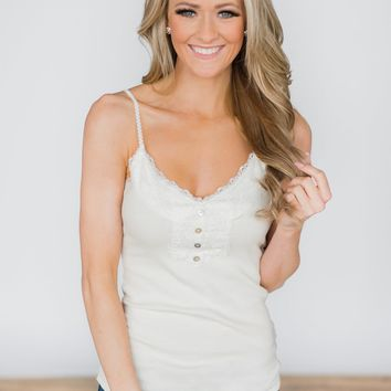Lace Trimmed Layering Tank Top ~ White