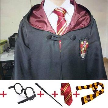 Cool Robe Cape with Tie Scarf Wand Glasses Ravenclaw Gryffindor Hufflepuff Slytherin Cosplay             for Harri Potter CosplayAT_93_12