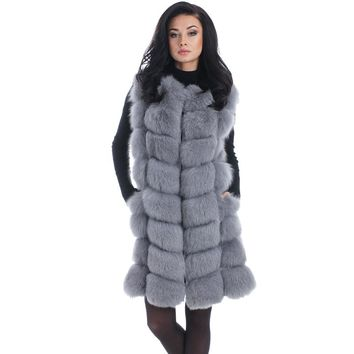 Shaggy Patchwork Knee-Length Warm Artifical Fox Fur Vest Women Fashion Winter Elegent Female Ladies Faux Fox Furs Coat FV004