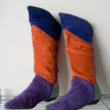 Vintage 80s Multi Color Block Suede Leather Boots Flats Women Size 8 Passports Funky
