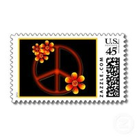 Orange and Black Retro Flower Peace Sign Stamps from Zazzle.com