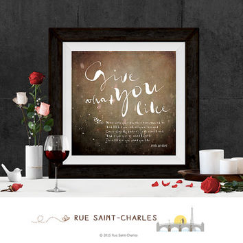 give you what you like Avril Lavigne lyrical print love printable art wall art printable lyrcis love songs art print printable art gift idea