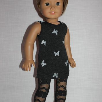 2 piece set! grey butterfly print mini tank dress, dark grey floral print lace leggings , 18 inch doll clothes, American girl, Maplelea