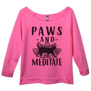 Paws and Meditate Womens 3/4 Long Sleeve Vintage Raw Edge Shirt