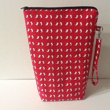 Quilted Red Print Project Bag, Crochet Project Bag, Knitting Project Bag, Tall Zippered Pouch, Quiltsy Handmade