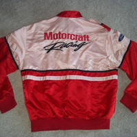 Vintage Team Ford Motorcraft Racing Team Employee Jacket Ladies Womens Pink Red