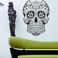 Extra Large Version 5 Sugarskull Wall Vinyl Decal Sugar Skull