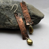 Copper and Green Fresh Water Pearls Twig Earrings, Stick Earrings | STEMDesigns - Jewelry on ArtFire