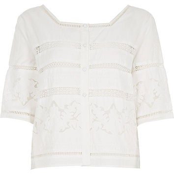 River Island Womens White lace trim top