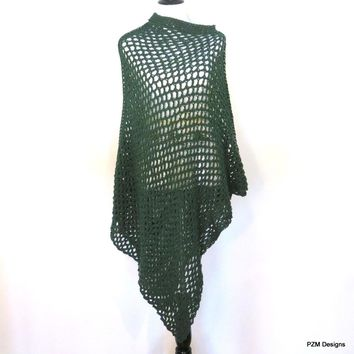 Green Fishnet Poncho, Plus Size Long Green Poncho