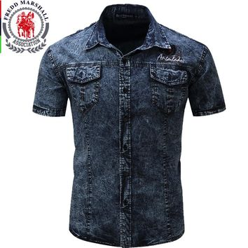FREDD MARSHALL Brand-clothing Denim Shirt Short Sleeve For Men Summer Dress Plus Size Man Shirts 2XL 48