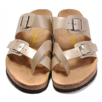 Birkenstock Leather Cork Flats Shoes Women Men Casual Sandals Shoes Soft Footbed Slippers-169