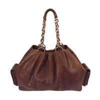 Bvlgari Hobo Purse Chocolate Python Leather