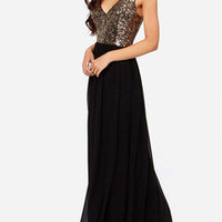 Black V Neck Evening Sleeveless Sequined Glitzy Maxi Dress