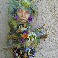 Vernal Equinox Moon, Goddess of the Forest and wild places. Assemblage Art Doll ooak