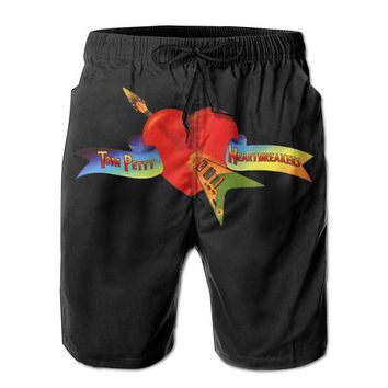 Tom Petty And The Heartbreakers Logo Mens Fashion Casual Beach Shorts