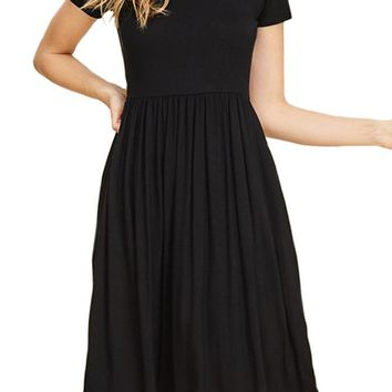 Fit and Flare Dress with Sequin Accent