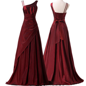 Asymmetrical Elegant Long Evening Dresses  Women Burgundy Evening Gowns Taffeta Beaded Formal Prom Dress