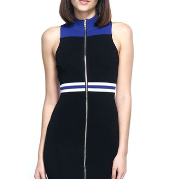 Stripe Trim Zip Up Front Sleeveless Ribbed Dress