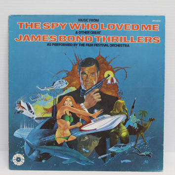 JAMES BOND MUSIC, 1977 Vintage Vinyl Album, music from James Bond Thrillers, The Spy Who Loved Me, Goldfinger, Dr. No and more