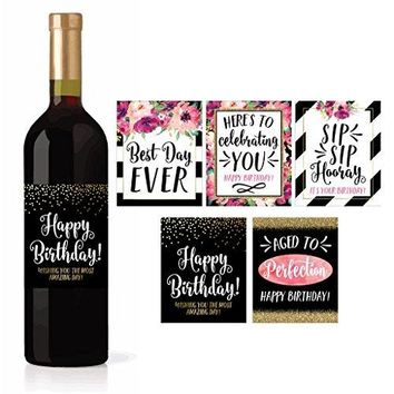 5 Birthday Wine Bottle Labels or Stickers Present Bday Milestone Gifts For Her Women Any Age Years Funny Unique Old Chic Pink Black Gold Party Decoration Centerpiece Supplies For Wife Mom Friend
