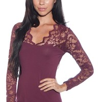 Romance in the Evening Floral Lace Sleeve Top - Wine