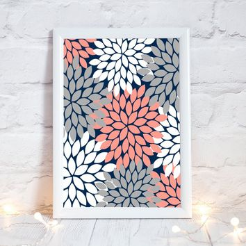 CORAL GRAY Flower Wall Art, Bedroom Wall Decor, CANVAS or Prints Bathroom Decor, Bedroom Picture Flower Wall Art, Flower Burst Dahlia Art 1