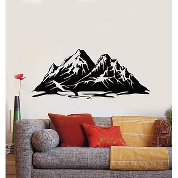 Vinyl Wall Decal Landscape Mountain Snowy Peaks Art Nature Stickers Mural (g756)