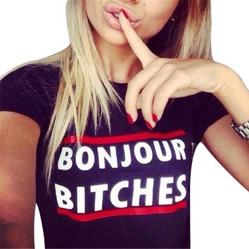 SexeMara New Summer Style Women's t shirt Fashion Letters Bonjour Bitches Printed Tees Harajuku camisetas Casual Woman Tops