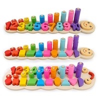 Montessori coloful Children Preschool Teaching kids Counting and Stacking Board Wooden Math Toy learning educational toys