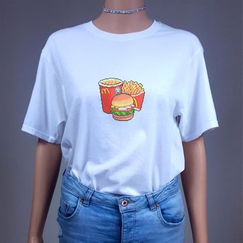 Retro Fast Food T Shirt Womens Ladies Tee Top Hipster Tumblr Grunge Punk Goth Kawaii Cute Fashion Vintage 90s Vaporwave Junk Burger Fries