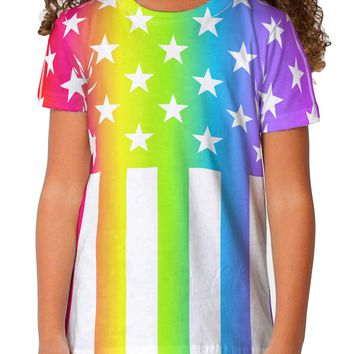 American Pride - Rainbow Stars and Stripes Toddler T-Shirt Dual Sided All Over Print