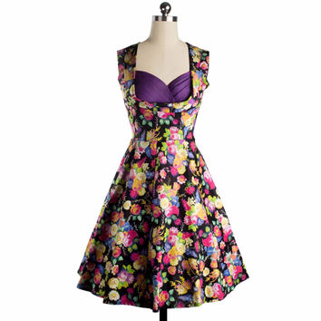 Women Sexy Evening Party Dresses Sleeveless Vintage Retro Style Floral Print 1950s ball gown Rockabilly Elegant  Swing Dress