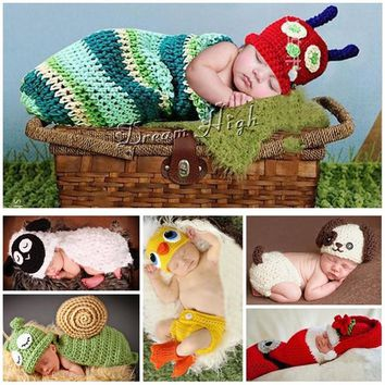 Sheep Newborn Clothes Photography Props Animal All Kids Clothing And Accessories,Duck Crochet Hat Baby Clothing Set Costume Baby