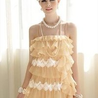 Beige Cascading Ruffles Dress