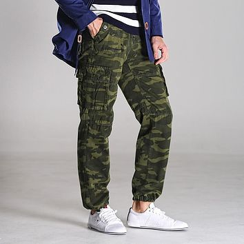 Men's Pants Mens Cargo Pants Military  Multi Pocket Camouflage Printing Fashion Casual Pants Men Trousers Plus Size 30-38