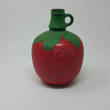 Vintage S Martinelli Apple Cider Bottle Hand Painted Apple Bottle