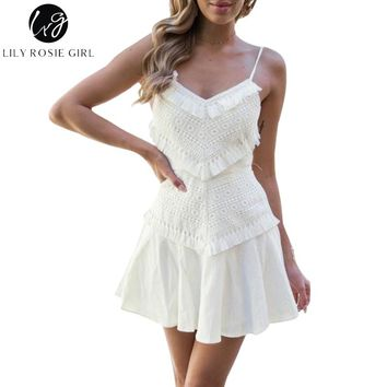 Lily Rosie Girl Elegant White Party Women Dress Tassel Lace Sexy Short Dress Spaghetti Strap Beach Green Casual Dress Vestidos