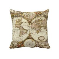 Antique World Map, c. 1680. By Frederick de Wit Throw Pillow from Zazzle.com
