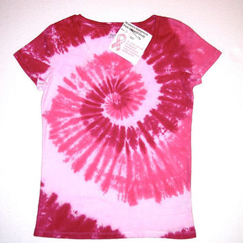 Breast Cancer Awareness Tie Dye Shirt/ Women's Scoopneck/Pink Spiral