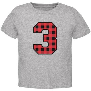 Chenier Birthday Kid Lumberjack Plaid 3 3rd Third Toddler T Shirt