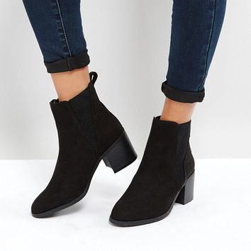 New Look Ribbed Side Block Heel Chelsea Boot at asos.com