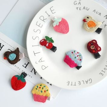 40pcs Fashion Cute Cherry Strawberry Cupcake Bird Bear BB Hairpins Solid Kawaii Crochet Animal Fruits Hair Clips Barrettes